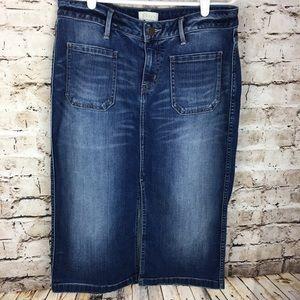 Hinge | stretch denim midi jean skirt, medium